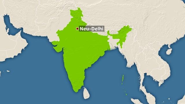 Karte Indiens mit Markierung auf der Hauptstadt Neu-Delhi.