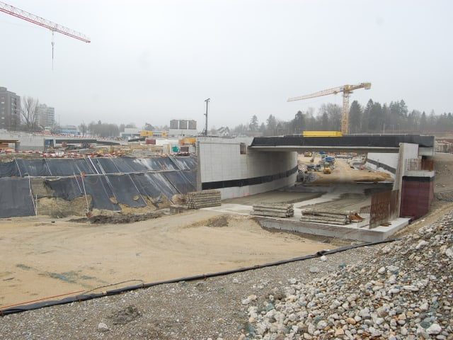 Autobahnbaustelle in Biel