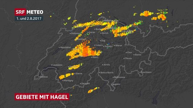 Ein Schweizer Karte mit den Hagelgebieten