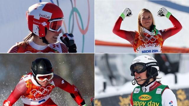 Dominique Gisin, Lara Gut, Wendy Holdener und Fabienne Suter (im Uhrzeigersinn) haben unterschiedliche Ansprüche.