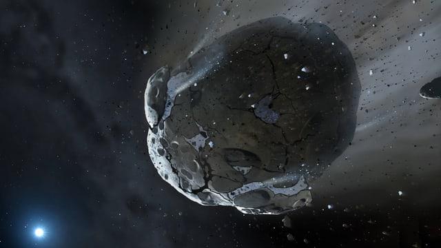 Grafik eines zerbrechenden Asteroiden.