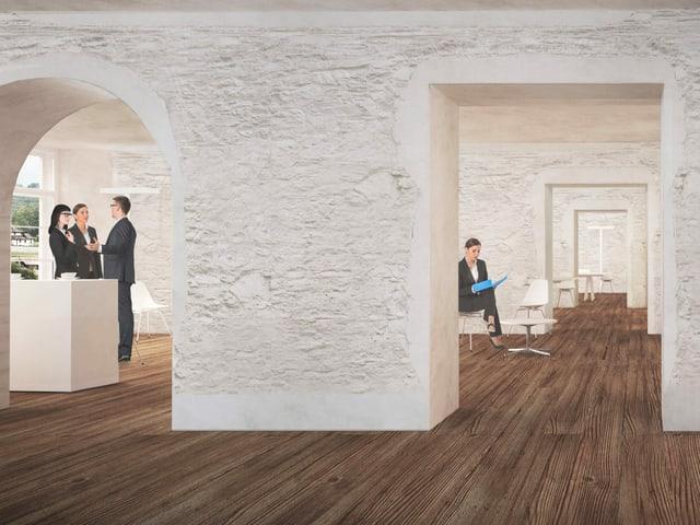 Illustration Eingangshalle, Sitzmöglichkeiten, Holzboden