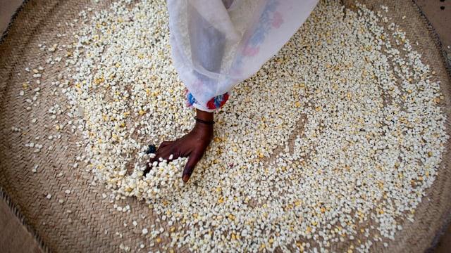 Ein Frau verteilt Hirse-Körner in einem Nahrungsverteilzentrum im Tschad.