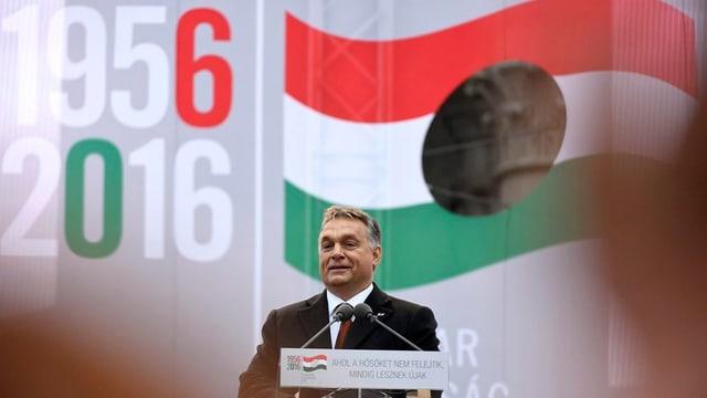 Purtret da Viktor Orban durant ses pled.