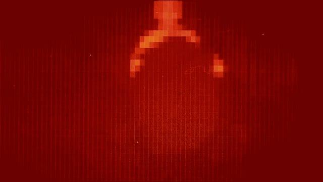 Eine Rastergrafik zeigt in roten, orangen und gelben Pixeln die Sicht von Yul Brynners mechanischem Revolverhelden aus dem Film «Westworld».