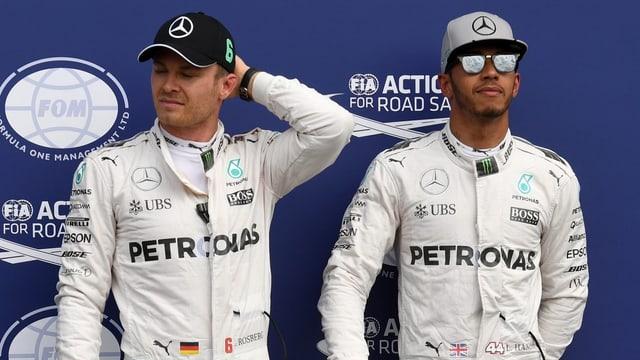 Lewis Hamilton (r.) und Nico Rosberg.