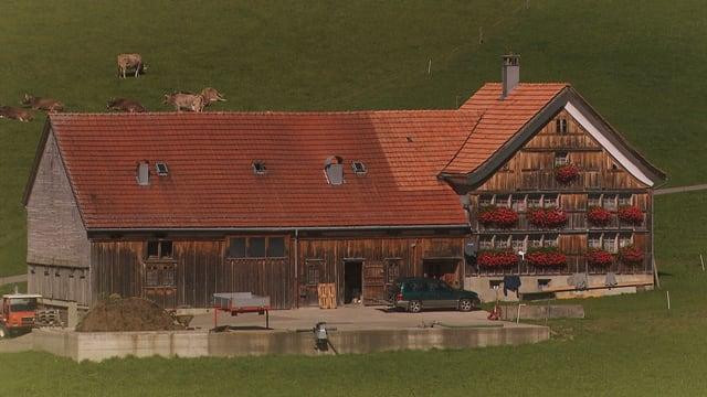 Ein typisches Appenzeller Holzhaus mit angebautem Stall.