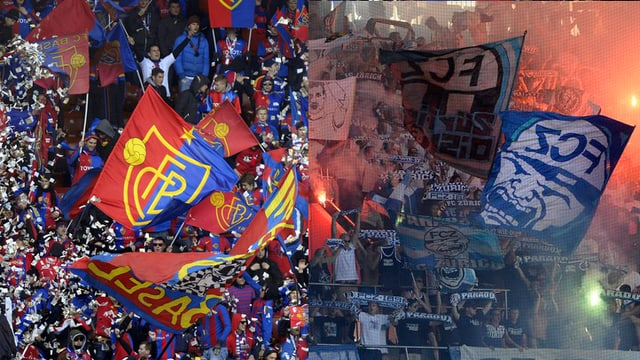 Fans des FC Basels und des FC Zürichs feuern im Stadion ihre Mannschaften an.
