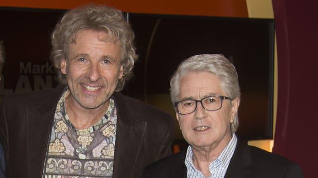 Thomas Gottschalk und Frank Elstner posieren für die Fotografen.