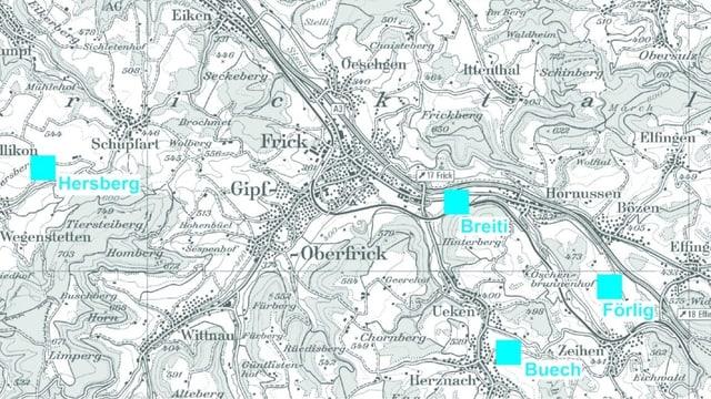eine Karte mit vier eingezeichneten Standorten