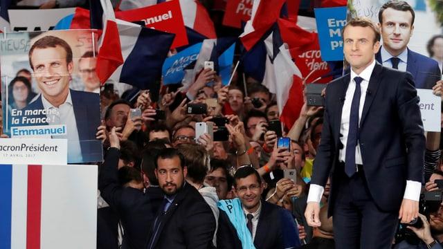 Emmanuel Macron an einer Wahlkampfveranstaltung.