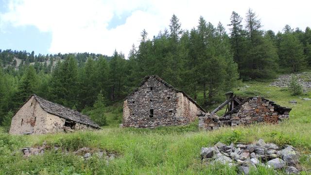 Drei verfallene Steinhütten auf einer Alpwiese.