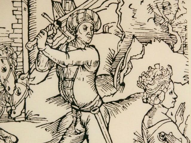 Mittelalterliche Illustration: Eine kniende Frau, hinter ihr holt ein Mann mit Schwert zum Schlag aus.