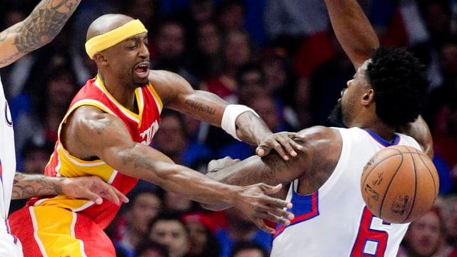 Houston-Guard Jason Terry wird von DeAndre Jordan von den Clippers geblockt.