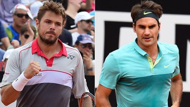 Stan Wawrinka (links) und Roger Federer treffen in Rom aufeinander