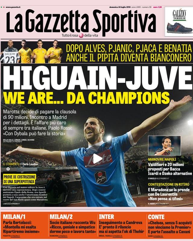 Higuain auf der Titelseite der Gazzetta Sportiva