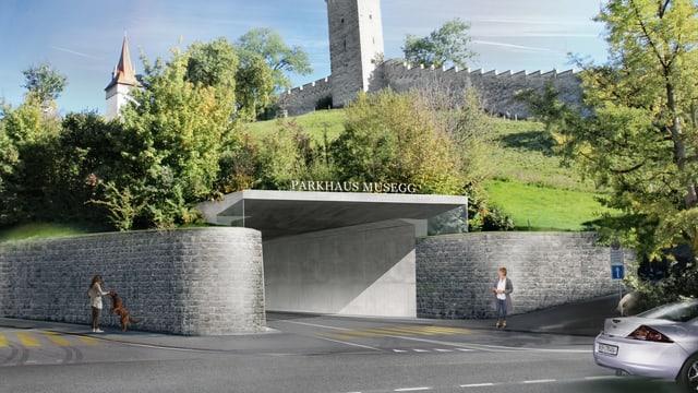 Eine Visualisierung zeigt, wie die Einfahrt des Parkhauses dereinst aussehen könnte. Im Hintergrund die Museggtürme.