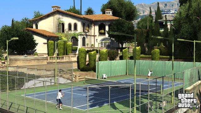 Ein Tennisplatz.