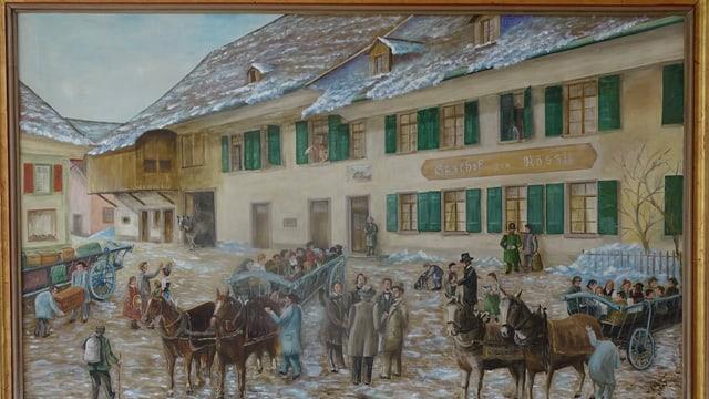 Besammlung der Auswanderer vor dem Gasthof Rössli in Rothrist.