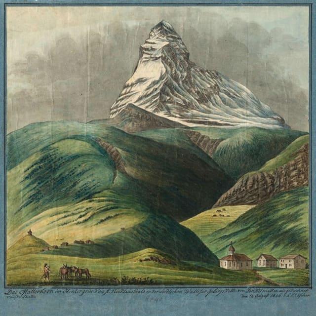 eine Zeichnung eines Berges mit grüner Landschaft und wenigen Häusern im Vordergrund