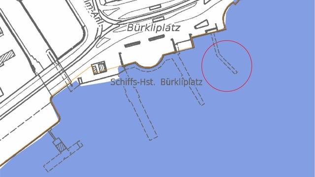 Kartenausschnitt des unteren Seebeckens und des Bürkliplatzes
