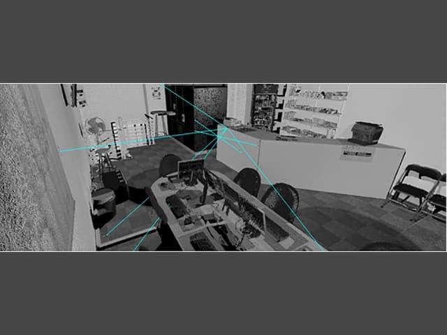 VR-Raum, darin mit Linien die Schussabgabe eingezeichnet.