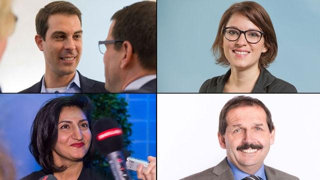 Oben: Thierry Burkart (FDP/AG), Mattea Meyer (SP/ZH). Unten: Sibel Arslan (Alternative/BS), Duri Campell (BDP/GR)