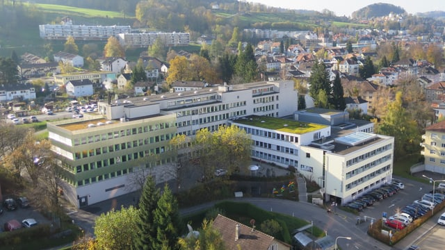 Ostschweizer Kinderstpital aus der Vogelperspektive