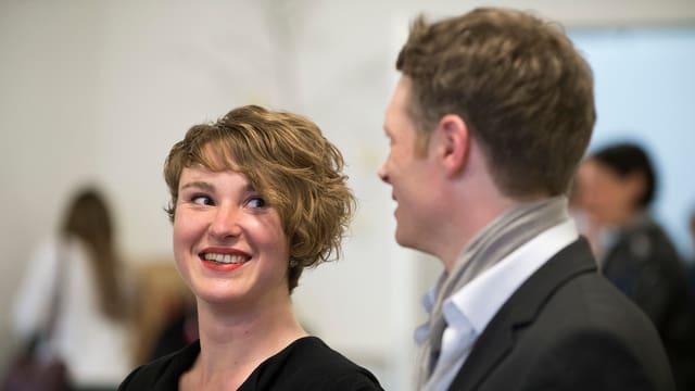 Irène Kälin und Jonas Fricker im Gespräch