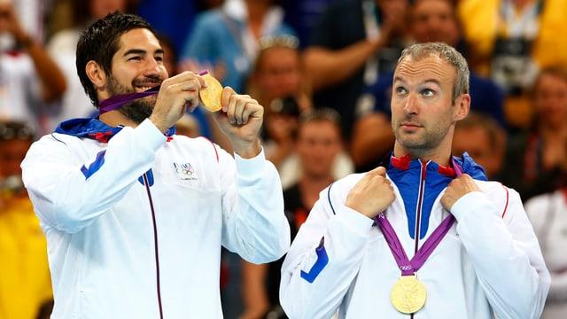 Karabatic (links) und Omeyer winkt eine weitere Medaille.