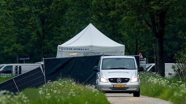 Zelte und Fahrzeuge auf einer Grünfläche