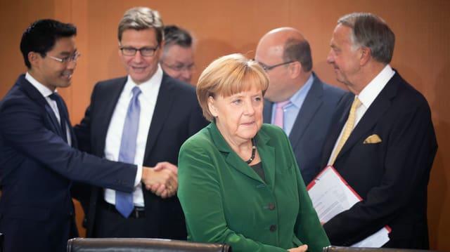 Kanzlerin Angela Merkel bei der letzten Kabinettssitzung vor der Wahl am Sonntag.