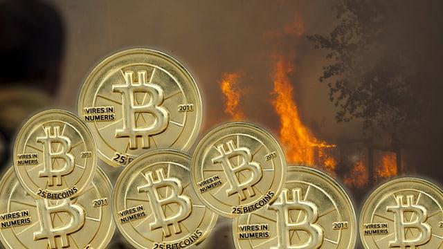 Collage mit symbolischen Bitcoin-Münzen und Feuer