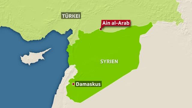 Karte mit Syrien und Türkei