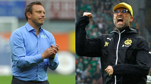 Paderborn-Trainer André Breitenreiter und BVB-Coach Jürgen Klopp.