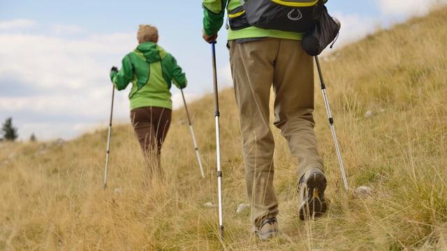 Zwei Wanderer mit Trekkingstöcken erklimmen einene Berg