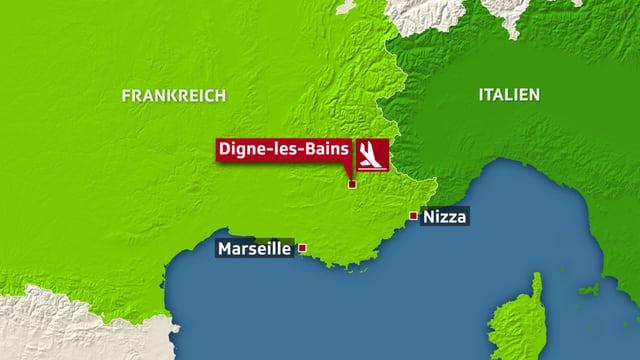 Carta da la Frantscha cun nudà il lieu Digne-les-Bains