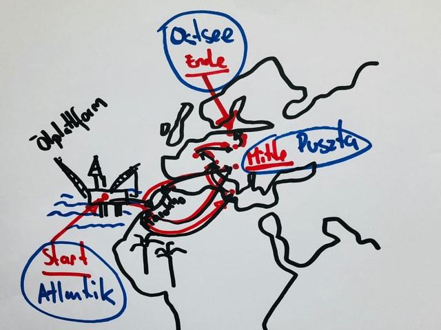 Weltkarte mit den Reisedestinationen von Waclaw.
