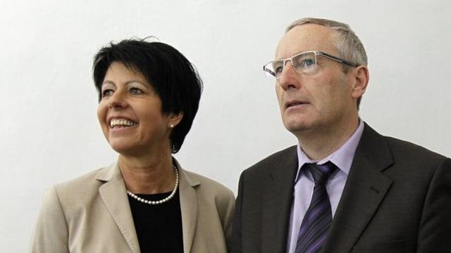 Die beiden Nidwaldner Regierungsräte Yvonne von Deschwanden und Alois Bissig.