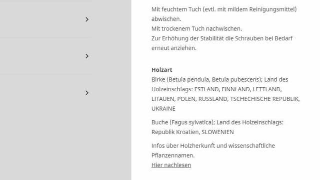 Screenshot von Holzdeklaration des Produkts Rönninge (Stuhl)