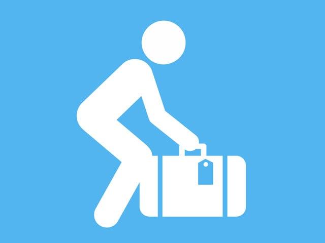 Piktogramm Koffer heben.
