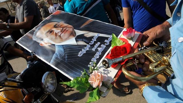 Poster des gestürzten Machthabers Hosni Mubarak.