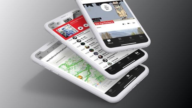 Smartphones mit Apps von SRF