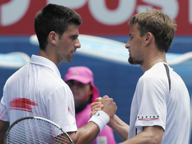 Novak Djokovic und Marco Chiudinelli.