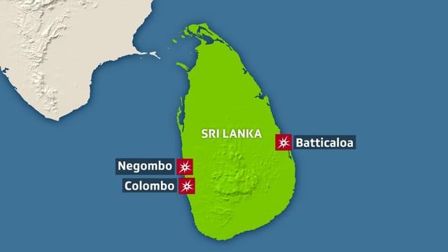 Grafik. Karte von Sri Lanka, drei Städte sind eingezeichnet.