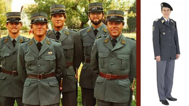 Gruppenbild mit fünf Leutnants in alter Uniform, daneben eine Soldatin mit neuer Ausgeh-Uniform.