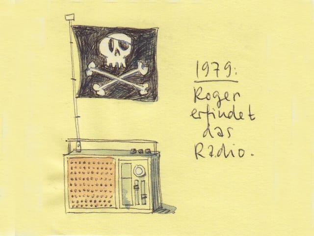 Auf einem gezeichneten antiquierten Radio flattert eine Totenkopf-Flagge. Daneben steht handschriftlich geschrieben: 1979: Roger erfindet das Radio.