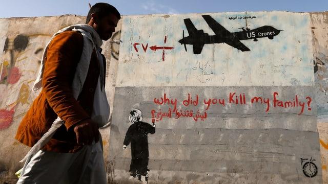 Graffiti mit einer US-Drohne