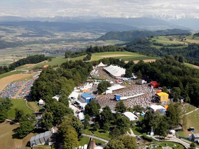 Luftbild auf das Festival