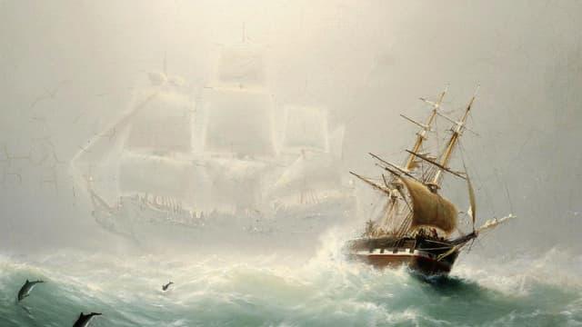 Gemälde: Ein Segelschiff auf hoher See. Dahinter ist schemenhaft ein viel grösseres, weisses Schiff zu sehen.